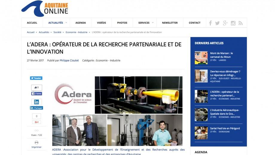 Adera article presse recherche partenariale